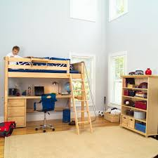 Loft Beds With Desks And Storage Bedroom Low Dark Wooden Loft Bed With Pull Out Desk And Storage