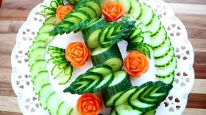 Food Decoration Images Art In Cucumber U0026 Carrot Flower Vegetable Carving Garnish