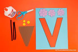 letter v craft vase myteachingstation com