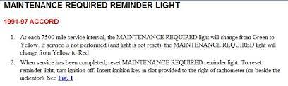 reset maintenance light honda accord how do you reset the maintenance required light on a 1992 honda accord