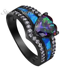 blue green rings images 2018 black gold plated rainbow blue green purple stone blue opal jpg