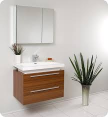 Wall Mounted Bathroom Cabinets Modern 31 Inch Wall Mounted Teak Modern Bathroom Vanity And Medicine Cabinet