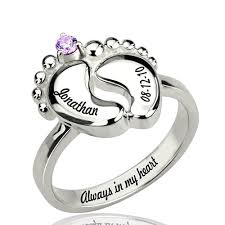 baby name rings images Engraved date baby name feet ring with birthstone jpg
