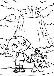 coloring pages volcano dora and erupting volcano coloring page netart