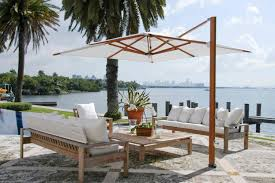 Outdoor Table Umbrella Furniture Grey Cantilever Umbrella With Iron Pole Stand For
