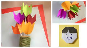 paper tulip flower diy craft for kids youtube
