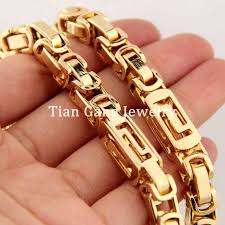2015 men s jewelry 8mm 60cm new arrival 7 40 for choose 6 8mm yellow gold heavy byzantine link chain