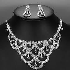 silver earrings bracelet set images Buy online love crystal bridal jewelry sets for jpg