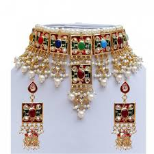 necklace design gold images Meena kundan beautiful pearls design gold plated wedding style jpg