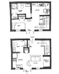 hand drawn plan configuration study for 1 and 2 story micro