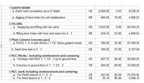 building construction spreadsheet download construction estimate