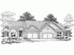 Duplex Floor Plans With 2 Car Garage Eplans Ranch House Plan One Story Traditional Duplex 3000