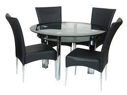 Glass Round Dining Room Table Kitchen Round Glass Dining Table And Idea Four Black Chairs