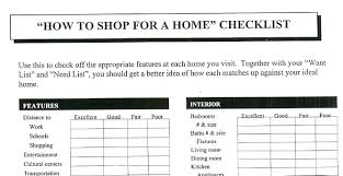 shopping for a home check list