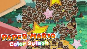 paper mario color splash attacking small goomba army