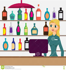 alcohol vector woman seller in shop of elite alcohol vector flat cartoon stock