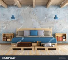 double master bedroom master bedroom pallet double bed old stock illustration 667900657