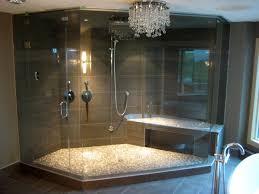 bathroom steam shower design with mosaic shower flooring built in steam shower design with mosaic shower flooring built in bench under crystal pendant lamp