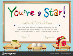 certificate template with books in classroom background u2014 stock