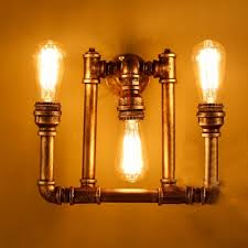 3 Light Sconce Industrial Bare Edison Bulb Wall Sconce In Bronze Finish 3 Lights