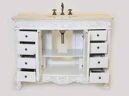 Aber  Inch Antique White Finish Single Sink Bathroom Vanity - 48 bathroom vanity antique white