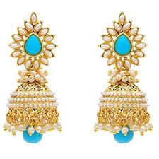 jhumki style earrings youbella jewellery traditional copper style pearl fancy