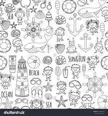 coloring page beach set children kindergarten stock vector