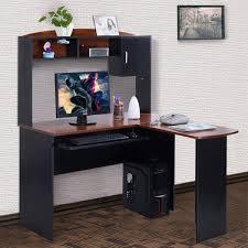 corner computer desk with shelves u0026 l shaped storage office table