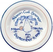 personalized baby plate personalized birth plate blue blanket louisville stoneware