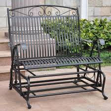 Glider Porch Furniture Comely Image Of Black Wrought Iron Metal Front Porch