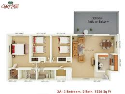 cider mill apartments floor plans floor plan style 3a 3 bedroom 2 bath 1226 sq ft