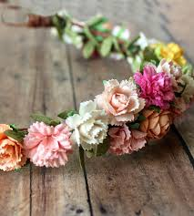 spring floral paper flower crown brides and bridal party attire