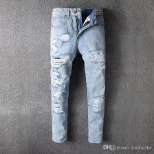 Skinny White Jeans Mens 2017 High Quality Fashion Off White Denim Jeans Mens Destroyed