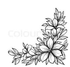 wedding flowers drawing beautiful black and white branch with flowers in graphical
