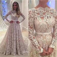 long sleeves lace a line floor length with small tail formal