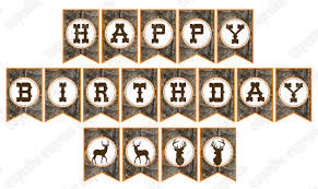 camo boy hunting banner birthday party printable happy