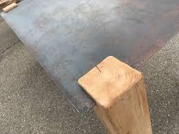 Table Acier Bois Industriel by Table Design Industriel Plateau Acier Vitadeco