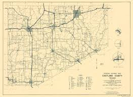 United States Highway Map by Old County Map Eastland Texas Highway 1936