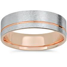 brushed gold wedding band 14k gold white gold two tone 6mm brushed mens wedding band