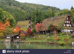 japan hida takayama hida no sato old farmhouses stock photo