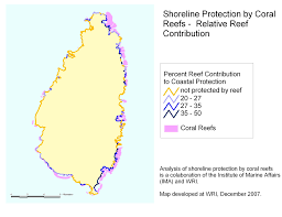 St Lucia Map Shoreline Protection By Coral Reefs Relative Reef Contribution