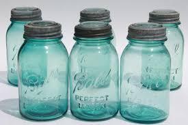 ball mason 6 vintage quart size aqua blue ball mason jars lot antique