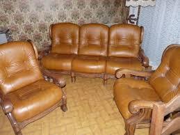 canapé cuir et bois rustique salon cuir bois occasion clasf