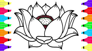 Simple Lotus Flower Drawing - drawing and coloring lotus flower learn colors with simple