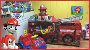 paw patrol power wheels nickelodeon paw patrol surprise toys firetruck tent with marshall s