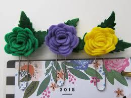 mardi gras roses 3 felt planner mardi gras theme paperclip bookmarks
