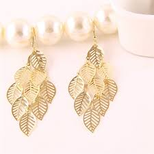 gold earrings design 2017 hollow out simple gold earring designs for women leaves
