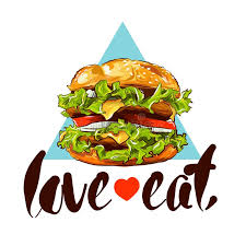slogan cuisine burger colour illustration with slogan stock vector