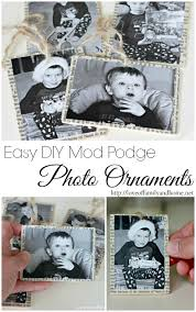 mod podge photo ornaments tutorial of family home