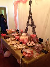 paris themed baby shower dessert and candy table ideas with eiffel